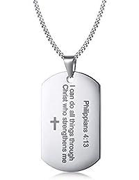 Gnzoe Bijoux - Collier gravé tag Dog, Acier Inoxydable Philippiens 4 13  Bible Verset Chien tag pour Hommes, Couleurs Disponibles  Noir Or… fd0670ae81f2