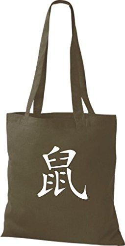 ShirtInStyle Stoffbeutel Chinesische Schriftzeichen Ratte Baumwolltasche Beutel, diverse Farbe olive green