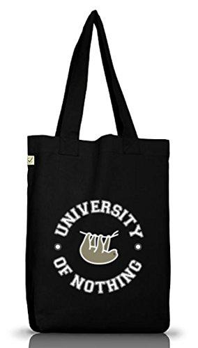 Faultier Jutebeutel Stoffbeutel Earth Positive mit University Of Nothing Motiv Black