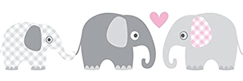 lovely label Wallpaper Border for Kids - Elephant Wall Stickers for Children's Playroom or Bedroom in Grey-Pink - Self-Adhesive Wall Border Stickers - Wall Decal and Stickers for