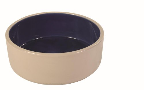 hundeinfo24.de Trixie 2452 Keramiknapf, 2, 1 Liter/ø 23 cm, creme/blau