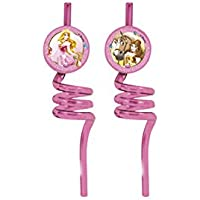 Unique Party 71849 - Disney Princess and Animals Curly Party Straws, Pack of 2