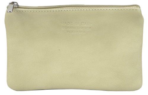 Italiano in morbida pelle con zip portamonete, portamonete o titolare di carta di credito del debito. Grande crema