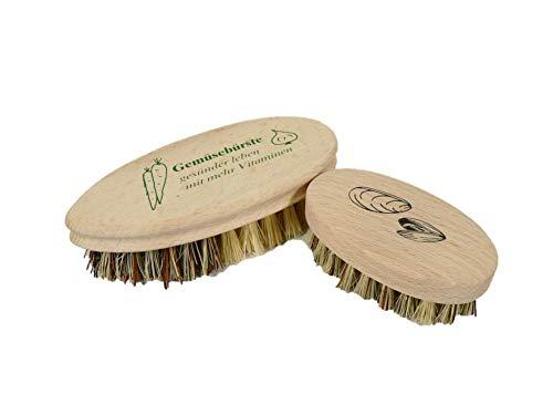 Valentino Garemi Reinigungsbürsten Set - Reinigung von Gemüse & Austern - Küchenspüle Werkzeuge für Hummermuscheln Muscheln Muscheln Veggie Karotten Kartoffeln Wurzeln Made in Germany -
