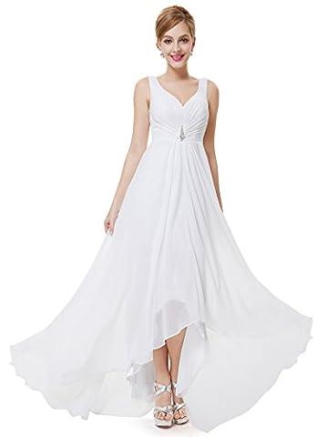 Ever Pretty Damen V-Ausschnitt Chiffon Lange Abendkleider 48 Weiß EP09983WH16