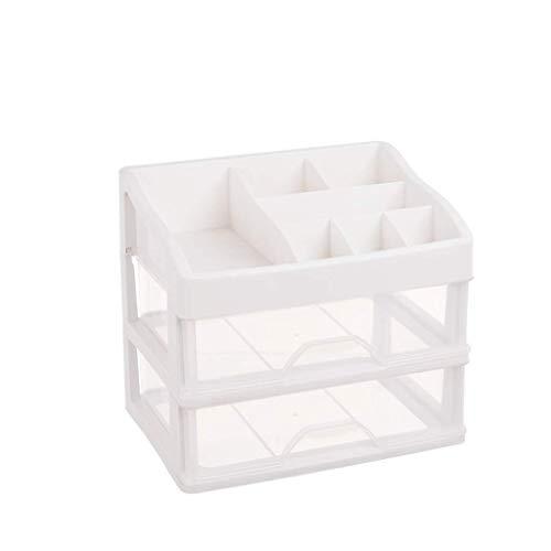 Paniers de fruits Boîte de rangement en rack, cosmétiques en plastique livre comptoir bureau salle de bains en plastique deux couches (Couleur : Transparent)
