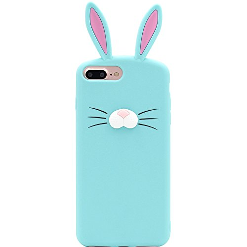 iPhone 7Plus Fall, iPhone 8Plus Fall, MC Fashion Cute 3D Kaninchen Bunny Schnurrbarthaare Ohren Tier Fall, Weichen und Silikon Cover Slim Case für Apple iPhone 6/6S/7/8Plus, Mint (Ohren Bunny Fall)