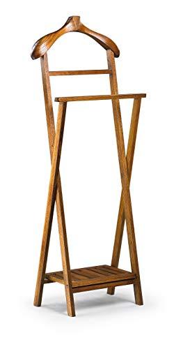 Moycor Stummer Diener Klappbar Star, Mindi-Holz, Walnussbraun, 50 x 30 x 136 cm