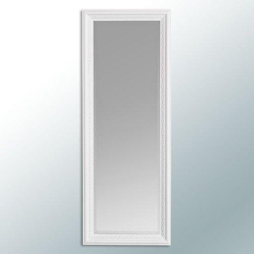 LEBENSwohnART Wandspiegel Argento barock 140x50cm Spiegel Pur-Weiß Holzrahmen und Facette -