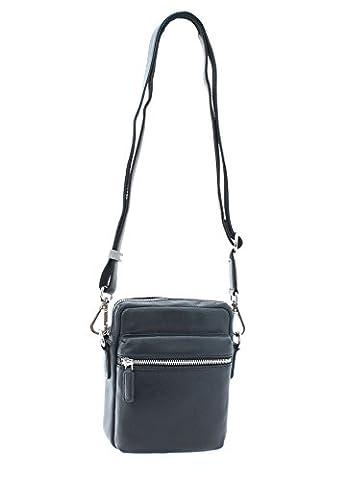 Visconti Soft Pebbled Grain Leather LYNX Compact Reporter Travel Bag KR70 Black