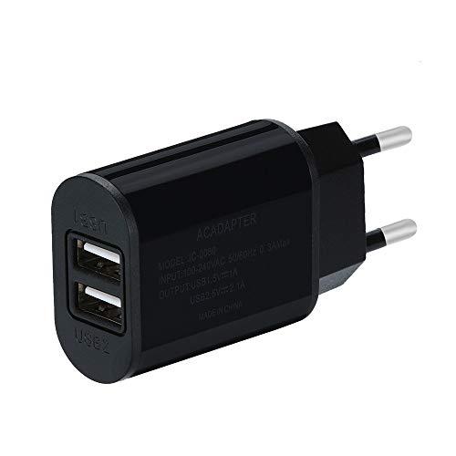 HKFV Handy-Wand-Adapter EU-Stecker Universal Smart 5V 8A USB Charger mit USB Anschlüssen EU Stecker AC Power Adapter Charger Wandladegerät Netzteil für iPhone XS Max, Samsung Galaxy (Schwarz)