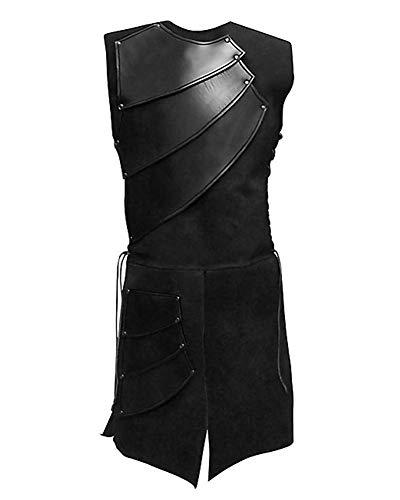 LaoZanA Herren Ärmellos Gothic Jacke Steampunk Mittelalterliches Vintage Langer Weste Renaissance Viktorianisch Kostüm Schwarz 3XL