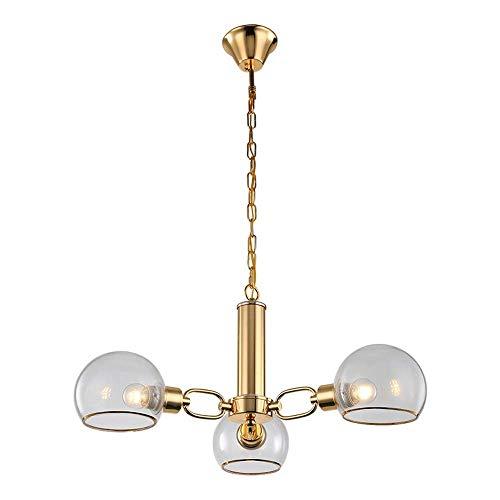 3 Light Semi Flush Kronleuchter (Songdizai Kronleuchter Gold Finish Moderne Esszimmer Anhänger Beleuchtung Ul Zertifiziert gebürstetem Gold Metall Lichter Vintage Semi Flush Mount Deckenleuchte für Bett Küche (Größe: 3-Lights))