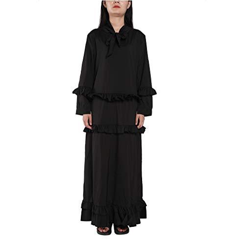 Damen Kleid Somerl Kleid Für Damen Elegant Frauen O Hals Lange Formale Abend Langes Kleid Kleidung Für Damen(Schwarz,M) -