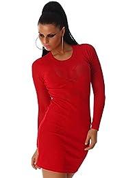 Jela London Damen Kleid Minikleid Mini Pullover Rundhals-Ausschnitt Langarm Longpulli Transparent Pulli Cocktailkleid