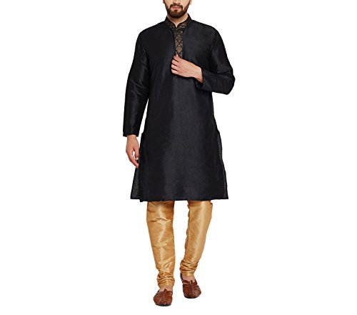 Royal Sojanya Men's Dupion Silk Kurta Churidaar With Self Brocade Design In Front Medium Black And Gold (Brocade Kurta)