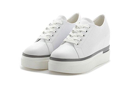 ... Damen Sportliche Runde Zehen Schnürsenkel Flache Bequeme Plateau Aufzug  Lässige Sneakers Weiß