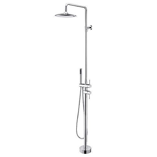 HUIJIN1 Freistehender Badewannen-Wasserhahn, verchromt Höhe kann mit Hubrahmen an der Wand befestigt Werden 8-Zoll-Top-Spray-Badewanne Dusche Dusche Boden Badewanne Wasserhahn