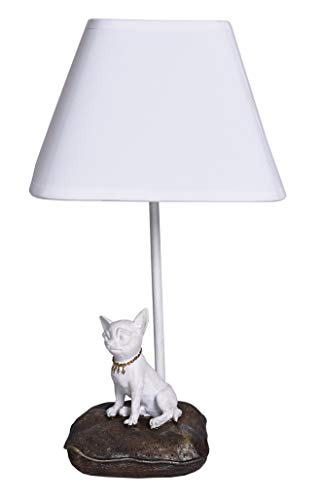 PALAZZO INT Tischlampe Chiwawa Lampe Chihuahua Leuchte Weiss Shabby Chic -