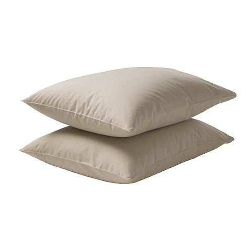 IKEA DVALA - Taie d'oreiller, beige / 2 pièces - 50x80 cm