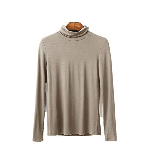 WSLCN Damen Basic Langarmshirt Modal Pullover Rollkragen Sweatshirt Shirts Tops Slim Fit Frühlings Herbst Casual Hell Leicht-tan DE 2XL(Asie 4XL) - Tan-rollkragen-pullover