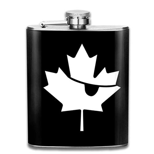 Canadian Pirate Black And White Maple Leaf 7 Oz Printed Stainless Steel Hip Flask For Drinking Liquor E.g. Whiskey, Rum, Scotch, Vodka Rust Great Gift (White Pirate Shirt)