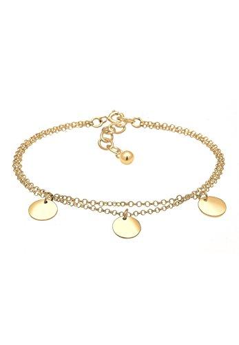 Elli Damen Echtschmuck Armband Kreis Layer Geo Plättchen in 925 Sterling Silber vergoldet 16 - 16cm Länge