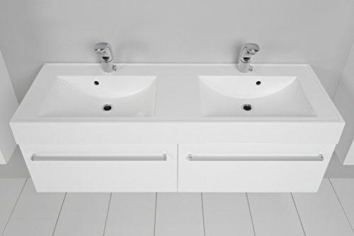 Quentis Doppelwaschplatz Aruva, Breite 140 cm, Waschplatzset 3-teilig, Waschbeckenunterbau mit zwei Schubladen, Front und Korpus weiß glänzend - 5