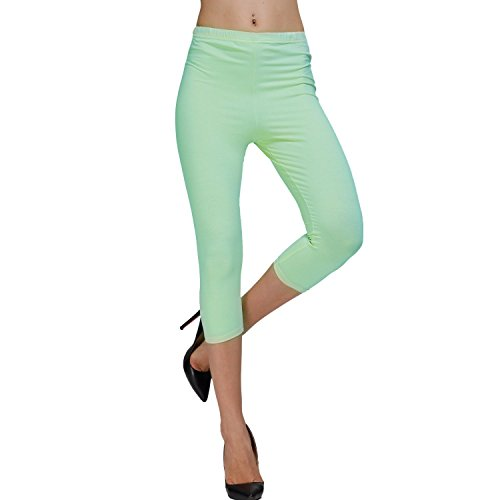 DIAMONDKIT cotton stretch capri legging de sport doublé pour femme Vert - Grün - Mint