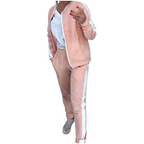 Sllowwa 2pcs Trainingsanzug Damen Mode Langarm Sweatshirt mit Lange Hose Casual Jogginganzug Sportanzug Hausanzug mit Warm Gefüttert(Rosa,M)