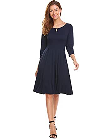 HOTOUCH Womens 3/4 Sleeves A-line Casual Pleated Dress Knee Length Midi Dresses Navy Blue M