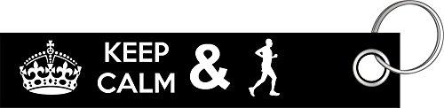 Shirtzshop Keep calm jogging Joggen Jogger Läufer Laufen Schlüsselanhänger Schlüsselband Keyholder Lanyard