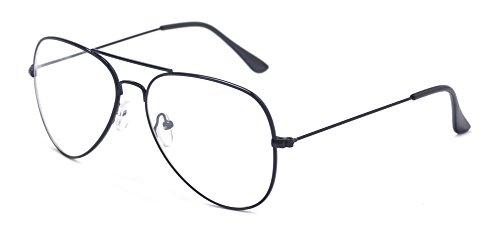 ALWAYSUV klassische Brille Metallgestell Brillenfassung Vintage Brille Dekobrillen (schwarz)