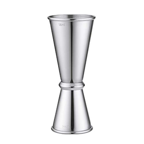 Doseur En Acier Inox Cocktail Mesure Alcool Jigger Single Double Verre Bar14/28ml, 28/42ml, 28/56ml FENGMING (Couleur : Silver, taille : 28/56ml)