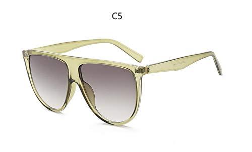 XIAOXINGXING Sonnenbrille Frau Vintage Retro-Flat-Top Thin Shadow Sonnenbrille Quadrat Pilot Designer Große Schwarze Schattierungen (Lenses Color : C5 Green Gray)