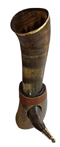 Handcrafted 12-14 Natural Viking Drinking Horn made from Semi Polished Original Horn with Brass Trim & Brass Knob and Lather Strip on Stand by Sixth Sense
