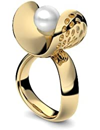 Golfschmuck Golf Schmuck Gold Ring Akoya Perle weiß 585 + inkl. Luxusetui + Akoya Perle weiß Ring Gold Perlenring Gold (Gelbgold 585) - Pearl Symbiosis Amoonic Schmuck AM253 GG585PWPE