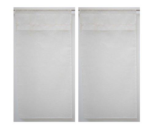 Linder 0169/11/427 - coppia di tende kaolin, con passante per astina, colore bianco trasparente, 50% poliestere, 50% lino, bianco, 60x200