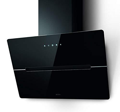 Elica Dunstabzugshaube WISE BL/A/60 (Umluft/Abluft) schwarz 60cm kopffrei mit LED-Beleuchtung, Randabsaugung, Glas-Front, 4 Motorstufen (echte 691m³/h), sehr leise [Energieklasse B]