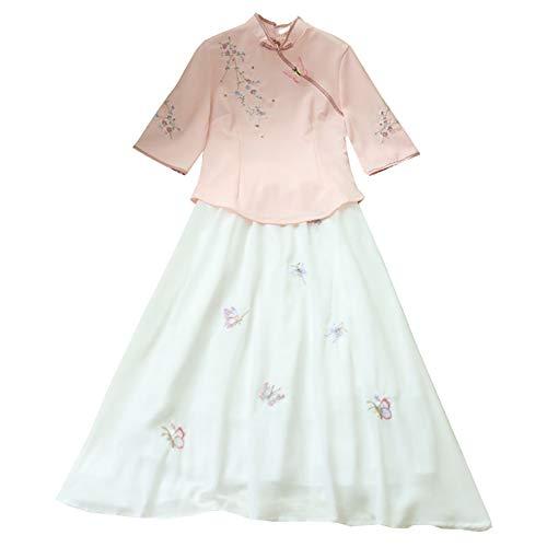 Frauen Han-Chinesen Kleidung Cheongsam Frauen Der Chinesischen Art Anzüge Zwei Sätze Kleidstrandkleid Abendkleid,A,M