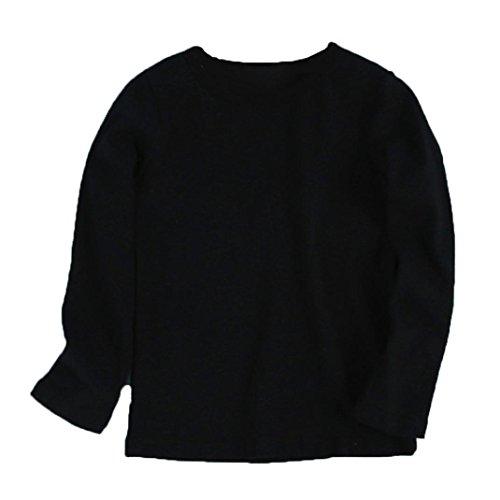 URSING Kinder Super süß Langarmshirts Süßigkeit Clour Familienkleidung Langarmshirt Basic Schlichtes Einfarbige Sweatshirt Junge Mädchen T-Shirt Unisex Klassik Pullover (90CM, Schwarz)