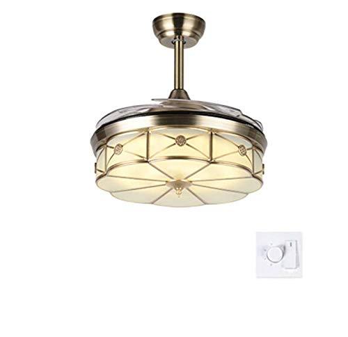 Ventilateurs de plafond avec lampe intégrée lustre 108Cm Tout Bronze Invisible Muet Led Gradation 3 Couleurs 36W Pale De Ventilateur En Abs (C, Contrôle mural)