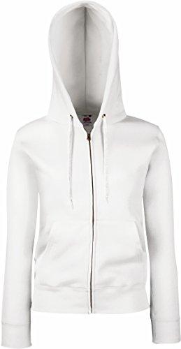 Fruit Of The Arise Lady-Fit Damen Kapuzenjacke / Sweatshirt-Jacke mit Kapuze M,Weiß - Weiß