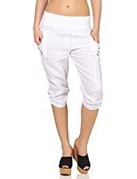 92ef6c9d0e Malito Mujer Pantalones de Lino Pantalones de Ocio Colores Liso 7988