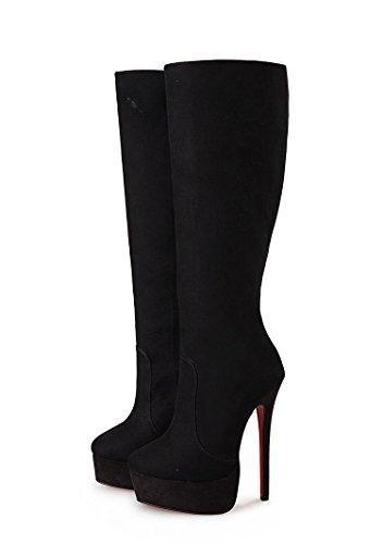 HeiSiMei tacco alto stivali / tacchi a spillo / stivali sopra il ginocchio / punta rotonda delle donne / Spesso fondo impermeabile piattaforma / ufficio & carriera / Party & Sera / sposa / vestito / a 1-44