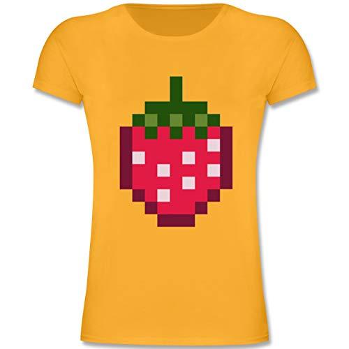 Karneval & Fasching Kinder - Pixel Erdbeere - Karneval Kostüm - 140 (9-11 Jahre) - Gelb - F131K - Mädchen Kinder T-Shirt