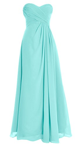 Turquoise Strapless Dress (MACloth Women Strapless Long Chiffon Bridesmaid Dress Wedding Evening Party Gown (Custom Size, Turquoise))