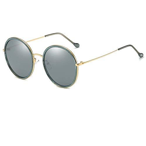 QYYtyj Herren Polarized Sonnenbrille Retro Round Unisex Metall Tempel UV und Glare/Reitbrille (Color : Green, Size : 150 * 61mm)