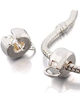 Andante-Stones Silber Bead Clip Stopper mit einem Ring für Dangle Beads und Charms - Element Kugel für European...