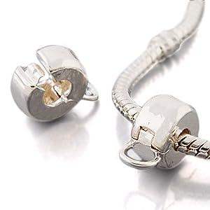 Andante-Stones Silber Bead Clip Stopper mit einem Ring für Dangle Beads und Charms – Element Kugel für European Beads + Organzasäckchen